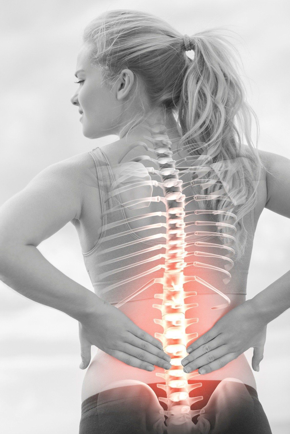 Woman with Back Pain because of Dehydration