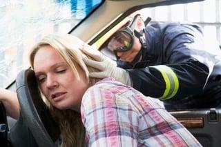 woman hurt after hitting head on steering wheel