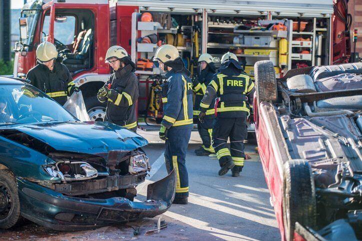 Severe truck crash scene