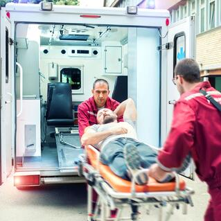 Man on Stretcher After an injury to the cervical spine