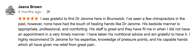 5 Star Review for Brunswick Chiropractor